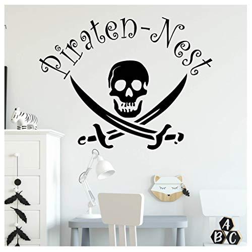 Wandtattoo Piraten-Nest mit Totenkopf Kinderzimmer Pirat / 24 schwarz / 55 cm hoch x 72 cm breit