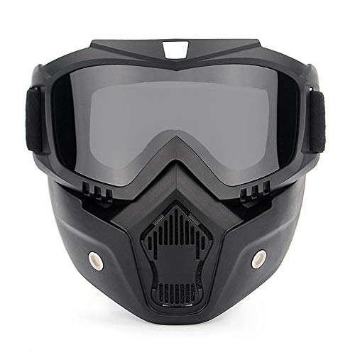 HOME CUBE 1 Pc Motorcycle Goggles Mask Helmet Goggles Road Riding Uv Mouth Filter Cycling Goggles with Detachable Mask (One Size Black)