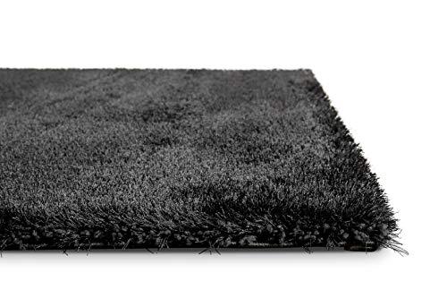 Homie Living I Moderner glänzender Hochflor Teppich - Läufer für Wohnzimmer, Flur, Schlafzimmer, Kinderzimmer I Florenz I (80 x 150 cm, Anthrazit)