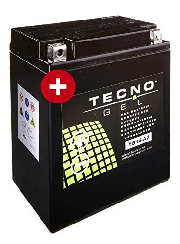 TECNO-GEL Motorrad-Batterie YB14-A2, 12V Gel-Batterie 14Ah (DIN 51412), 134x69x161 mm inkl. Pfand