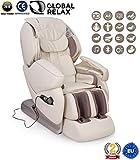 NIRVANA Poltrona massaggiante Shiatsu 3D - Bianco - Poltrona massaggio con posizione Gravità Zero - Poltrona relax con 9 programmi di massaggio automatici - 2 Anni Garanzia GLOBAL RELAX Italia