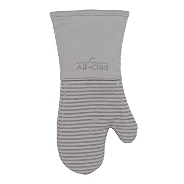 All-Clad Textiles Deluxe Heat and Stain Resistant Oven Mitt. Made of Silicone Treated Heavyweight 100-Percent Cotton Twill, Machine Washable, 14 x 6.5 Inches, Titanium