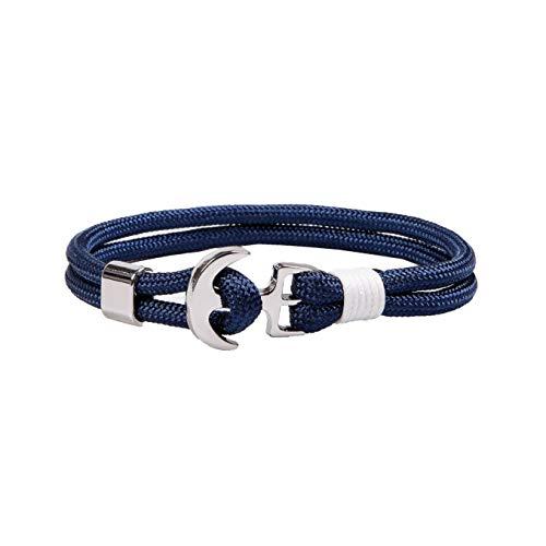RIVERTREE Nautical Rope Bracelet Men and Women Anchor Bracelet Navy Blue Braided Nylon Cord Wristbands
