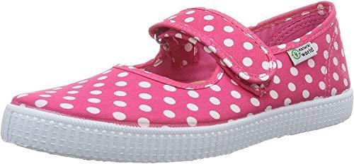 Natural World Jungen Mädchen Mercedes Velcro TOPOS Flache Hausschuhe, Pink (Fuchsia), 25 EU
