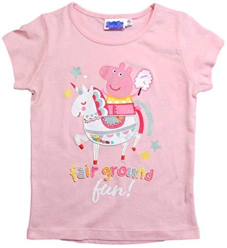Peppa Pig - Peppa Wutz Peppa Wutz T-Shirt Mädchen Kurz Rundhalsausschnitt (Weiß/Rosa Einhorn, 98-104)