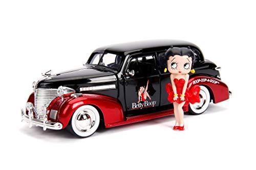 Jada Toys 253255016 1939 Chevy Master Deluxe Coche de Juguete de Die-Cast, Puertas Abiertas, Maletero y capó, Incluye Figura Betty Boop, Escala 1:24, Negro/Rojo