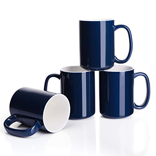 Porcelain Navy Coffee Mugs Set of 4-15 Ounce Cups with Large Handle for Hot or Cold Drinks like Cocoa, Milk, Tea or Water - Smooth Ceramic with Classic Design