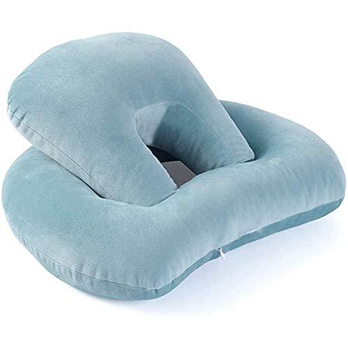 Uymkjv Almohada para Dormir, 34 43 17 cm, Almohada para la Siesta, Almohadilla para la Siesta hacia Abajo, Respaldo de Dos Capas, Brazos de Cuatro Cuartos, Azul