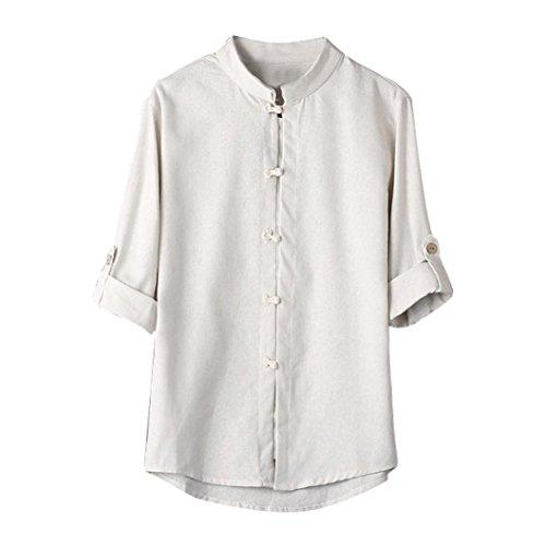 Zarupeng Herren Shirt Hemd Klassischen Chinesischen Stil Kung Fu Shirt Tops Tang Anzug Einfarbig 3/4 Ärmel Leinen Bluse Buddha Leinenhemd (3XL, Weiß)