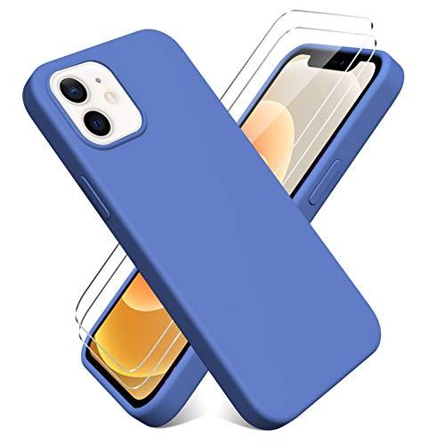 Oududianzi - Funda para iPhone 12 Mini(5.4'') + [2 Pack] Protector Pantalla, Carcasa de Silicona Líquida Gel Ultra Suave Funda con tapete de Microfibra Anti-Rasguño - Azul Oscuro