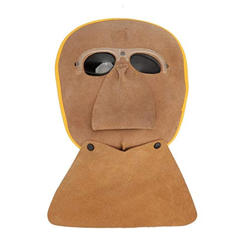 SALUTUYA, 1 pieza, máscara protectora de soldadura de piel de vaca marrón resistente al calor, operación de soldadura eléctrica para máscara de soldador con capucha de soldadura por arco
