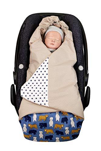 ULLENBOOM ® Einschlagdecke Babyschale Sand Bär (Made in EU) - Babydecke für Autositz (z.B. Maxi Cosi ®), Babywanne oder Kinderwagen, ideale Decke für Babys (0 bis 9 Monate)