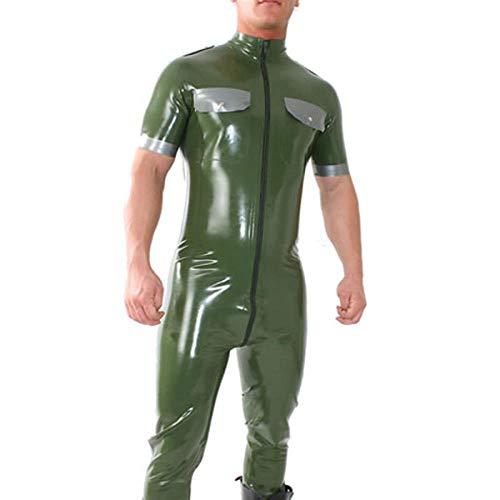 Lederunterwäsche für DamenLatex Gummi Uniform Catsuit Trikot Latex Jumpsuit für Männer-Transparent_Black_XXL_Other