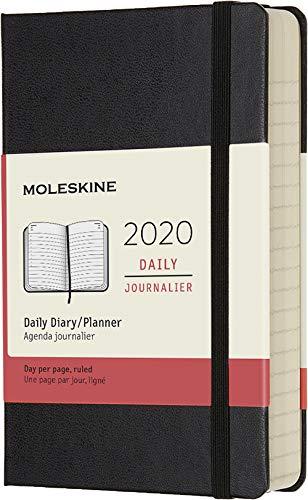 Moleskine - Agenda Diaria de 12 Meses 2020, Tapa Dura y Goma Elástica, Tamaño Pequeño 9 x 14 cm, 400 Páginas, Negro