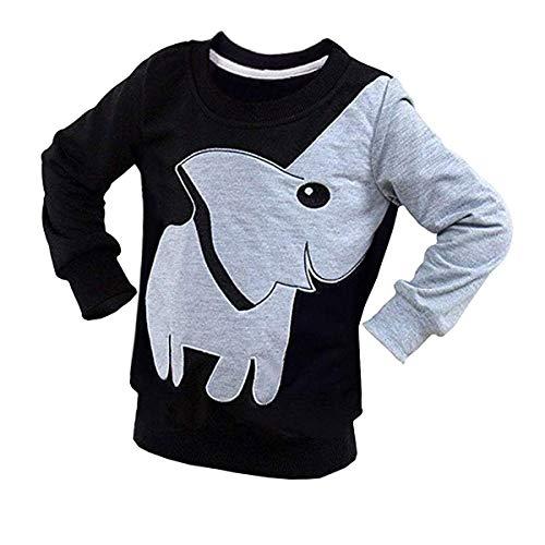 Boy Long Sleeve Shirt Toddler Tee Elephant Sweatshirt Kids Pullover Top Black 2T