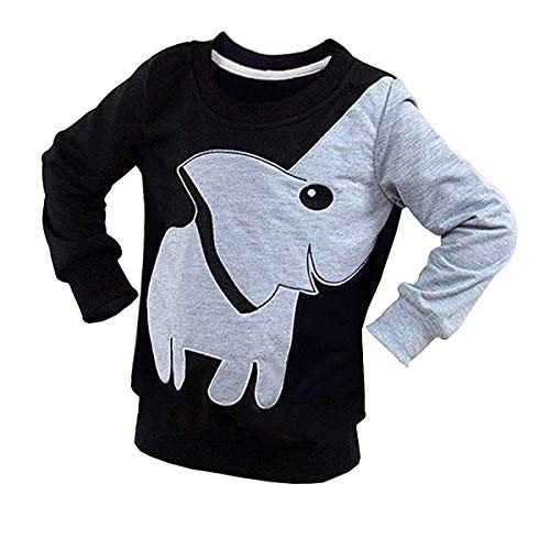 Boy Long Sleeve Shirt Toddler Tee Elephant Sweatshirt Kids Pullover Top Black 3T