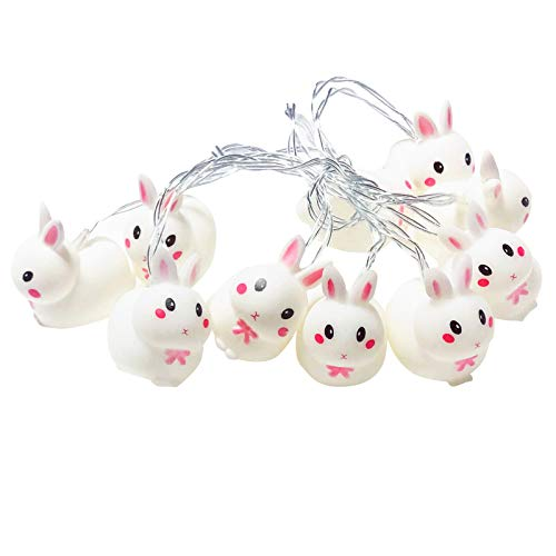Bunny String Lights, Easter Bunny Rabbit String Lights Easter Fairy Light USB or Battery Powered Colorful Flicker Bedroom Night Light for Kids, Ideal Easter and Holiday
