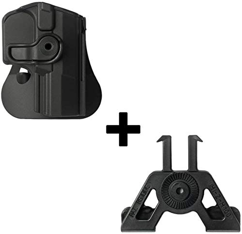 IMI Defense Tactical Retention Rotating 360 roto Paddle Polymer Holster + Molle Adapter Attachment for Walther M1, M2, PPQ Classic, Navy SD, Q5 Match Pistol Handgun