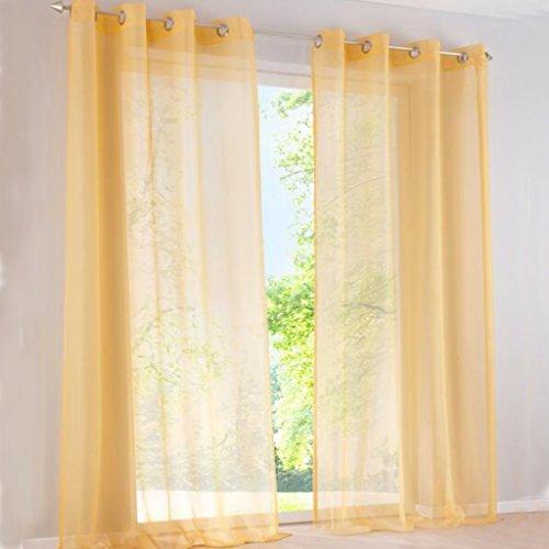 SIMPVALE - Juego de 2 Cortinas Visillos para Salón o Dormitorio, Elegantes, Ancho 140cm, Amarillo, Altura 270cm