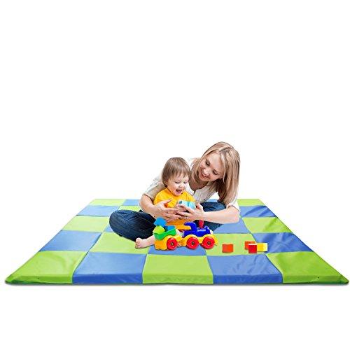 Tapis de jeu à carreaux rembourré en mousse viscoélastique pour enfant, 148 x 148 cm, bleu et vert