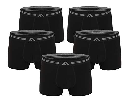 FM London Men's Super Soft Bamboo Boxer Shorts, Black, Large (Pack of 5)