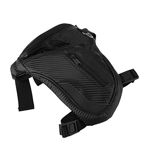 Duokon beenzak voor de motor, zwart voor heren, modieuze imitatie koolstofvezel, leer, voor op de motor, op het been, outdoor, sport, op reis, heuptas