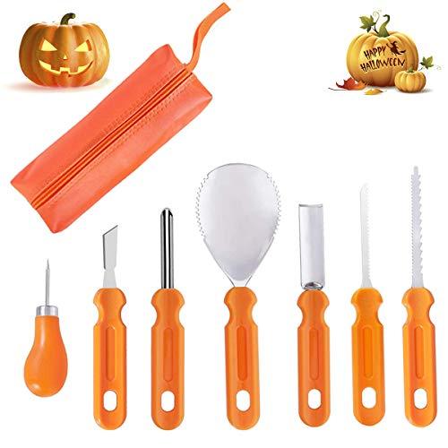 Halloween Pumpkin Carving Kit - 7 Pcs Professional Jack-O-Lanterns Pumpkin Cutting Supplies Tools Kit - Easily Sculpting DIY Halloween with Carrying Case - Carving Knife for Halloween Decoration