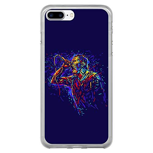 BJJ SHOP Custodia Trasparente per [ iPhone 7 Plus/iPhone 8 Plus ], Cover in Silicone Flessibile TPU, Design: Cantante Pop Rock dell'acquerello