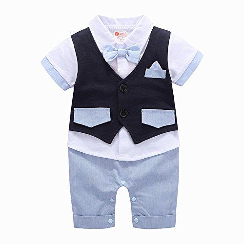 G-Kids G-Kids Baby Jungen Strampler Smoking Gentleman Anzug EinteilerKurzarm Outfits Sommer Kleidung Jumpsuit Spielanzug Taufkleidung (Blau, 70/3-6 Monat)
