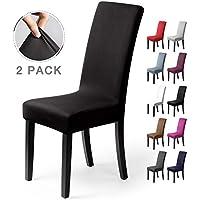 Fundas para sillas Pack de 2 Fundas sillas Comedor Fundas elásticas, Cubiertas para sillas,bielástico Extraíble Funda, Muy fácil de Limpiar, Duradera (Paquete de 2, Negro)