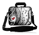 icolor 15' Laptop Bag Case Sleeve 14.1' 14.2' 15.6' Inch Neoprene Laptop Shoulder Messenger Bag 15.4' Notebook Computer Dual Zipper Case Cover Pouch Holder Pocket -Music & Red Heart
