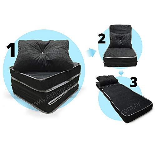 Puff Multiuso 3 Em 1 + Travesseiro Solteiro - Suede e Corino Preto