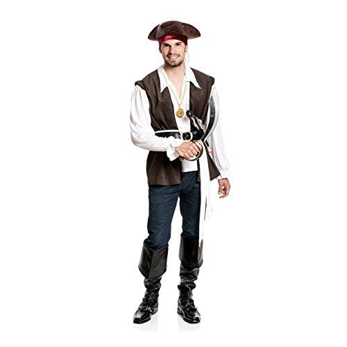 Kostümplanet® Piraten-Kostüm Herren Verkleidung Pirat Faschingskostüme Seeräuber Outfit Karneval Piratenkostüme Männer Erwachsene komplett Set große Größe 56/58
