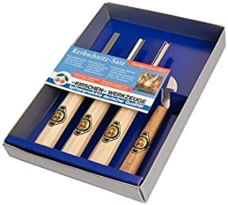 Kirschen 3424 - Juego de útiles de tallado en madera (3 gubias y 1 navaja)