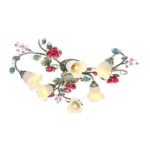 Lámpara de techo Yu Zhijie American Country Garden Dormitorio Romántico Rosa Jardín Flor Lámpara de techo, 6 luces
