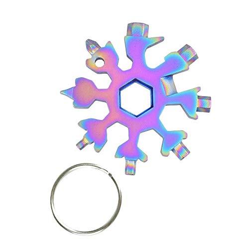 Gobesty Schneeflocke Multitool, 18-in-1 Edelstahl Schneeflocken Multi-tool mit Schlüsselbund und Geschenkbox für militärische Enthusiasten und Outdoor EDC