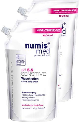 numis med Waschlotion Nachfüllbeutel ph 5.5 SENSITIVE - Körperlotion vegan & seifenfrei - Lotion für sensible, feuchtigkeitsarme & zu Allergien neigende Haut im 2er Pack (2x 1000 ml)