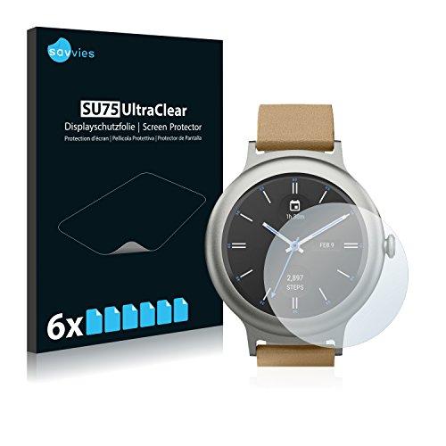 Savvies 6X Schutzfolie kompatibel mit LG Watch Style Bildschirmschutz-Folie Ultra-transparent