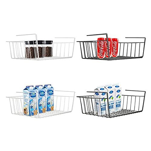 SdeNow Cesta para Debajo del Estante, 4 Unidades, Color Blanco y Negro, con estantes para Almacenamiento en la Cocina, despensa, Escritorio, estantería, Armario