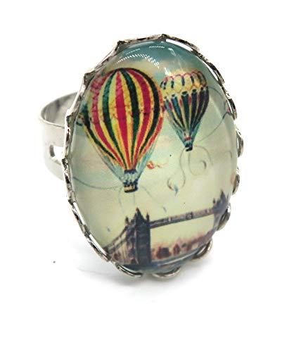 schmuck-stadt Ballon Motiv Cabochon Ring Silber-Farben Damen Modeschmuck
