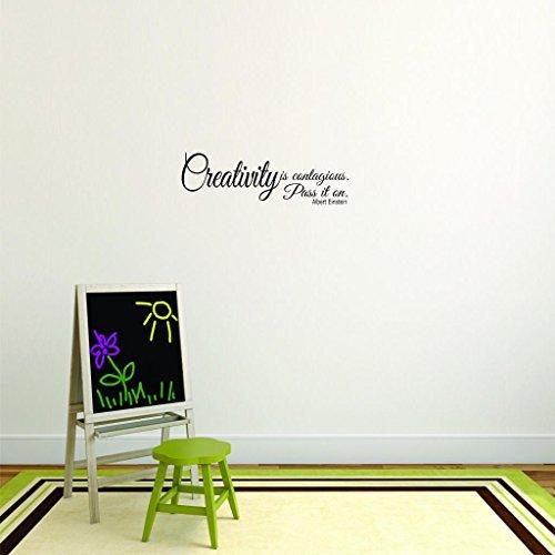 Moti 2543 Lot de 2 stickers muraux en vinyle avec inscription « Creativity Is Contagious Pass It On Albert Einstein » Noir 30,5 x 76,2 cm