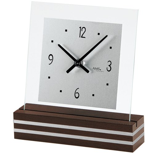 AMS 1106 Tischuhr Quarz, nussbaumfarben lackierter Holzsockel