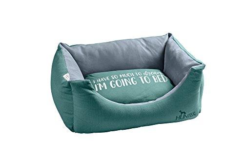 HUNTER Keitum Perfomance Beds trendy hondensofa met belettering en omkeerbaar kussen, vuil- en waterafstotend, antibacterieel, one-size, petrol/lichtgrijs