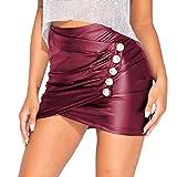 WEIMEITE Mini Falda Plisada Cuero PU Sexy Mujer Bodycon Faldas Club Fiesta Ccintura Alta para Mujer