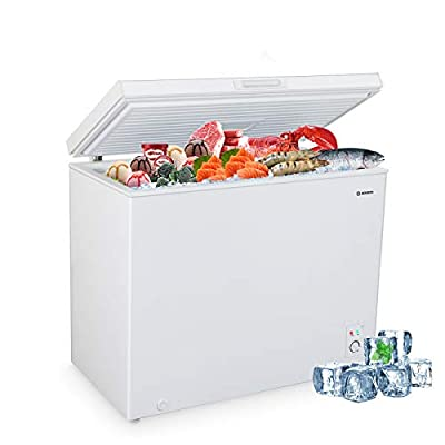 MOOSOO Chest Freezer, 9.0 Cu.Ft Large Capacity with Adjustable Thermostat&Removable Storage Basket, Energy Saving & Low Noise, Deep freezer for Home, Kitchen, Garage, Basement, Shop?White?