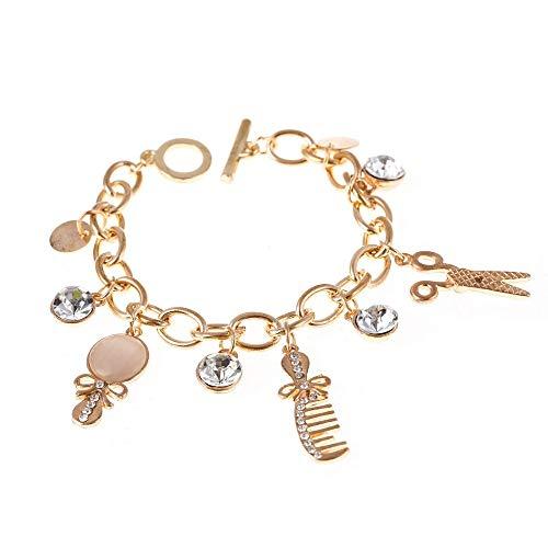 RQWY Armband n Geschenk Mode Bowknot kamm Charme Armband Gold Platte Schere anhänger armbänder & fußkettchen türkischen schmuck