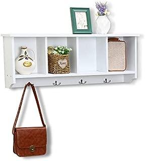 love furniture Floating Shelf Coat Rack Wall Mounted Cabinets Hanging Entryway Shelf w/ 4 Hooks Storage Cubbies Organizer White