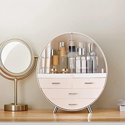 Kosmetikorganiser Aufbewahrung Schmink Mit Staubdichtem Deckel Makeup Organizer Rotation Staubdicht Regal Hohe Kapazität,Grau