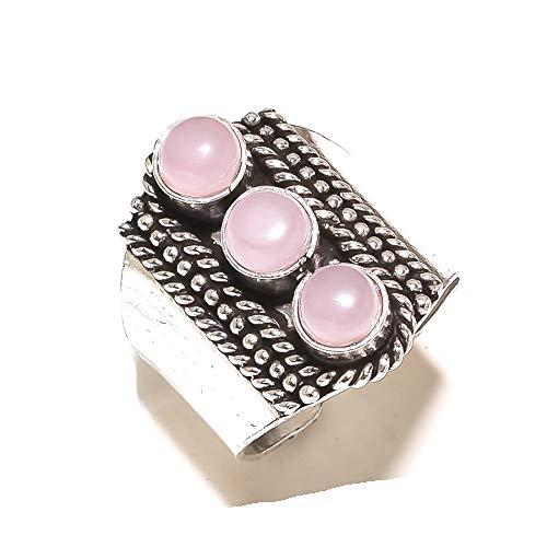 Shivi ¡Mirada Antigua! ¡Gemas Rosadas de Cuarzo Rosa! Anillo Talla 10.5 US (tamaño Grande), diseñador. Chapado en Plata oxidada, Hecho A Mano! ¡Joyería