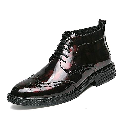 DIBAO Botas de Tobillo de Moda de los Hombres Personalidad Diaria de Estilo Brogue Style Patent Highschool Top Boot (Color : Red, Size : 41 EU)
